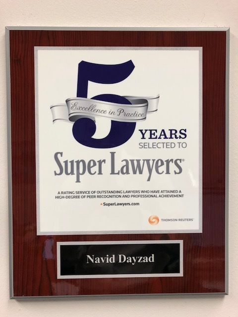 super lawyer 5 year plaque